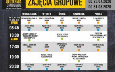 Harmonogram zajęć grupowych w dniach 20 lipca – 31 sierpnia